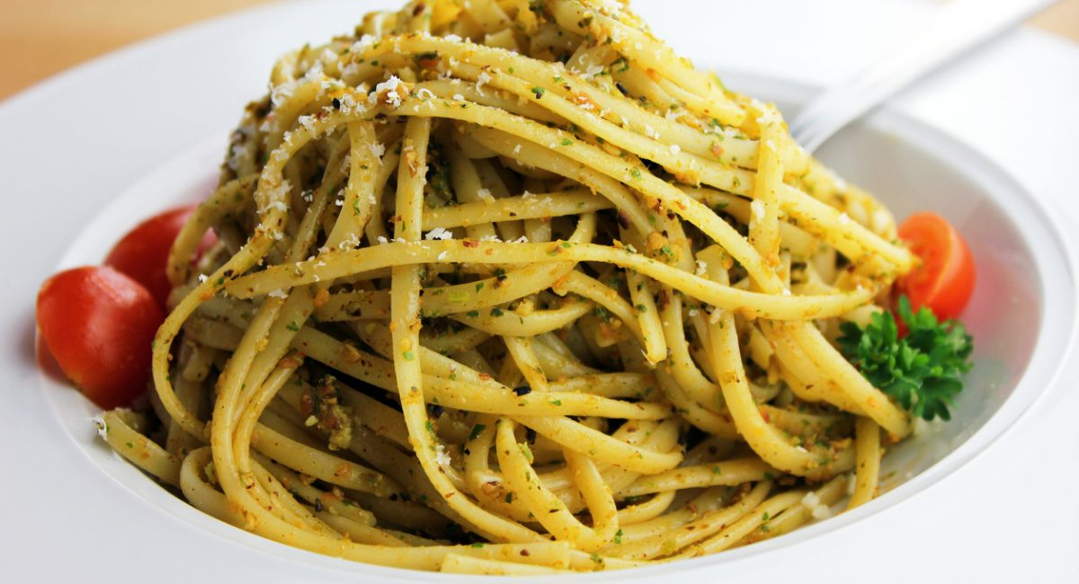 A close-up of linguine with pesto alla trapanese