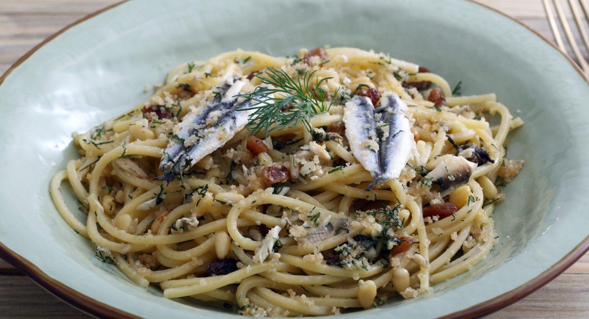 Italian pasta with sardienes, close up view