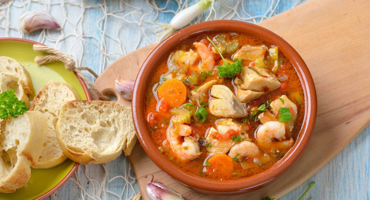 Mediterranean bouillabaisse served with fresh white bread